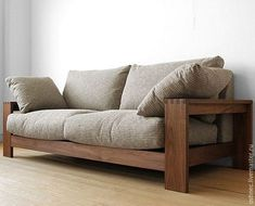 Walnut Walnut solid wood natural wood wooden frames covering Sofer high density polyurethane and feather, solid frame made sofa-sofa 3 P-SOFA-M pillow 2 the . Wood Frame Couch, Wooden Couch, Wood Sofa, Pallet Sofa, Diy Pallet, Diy Sofa, Sofa Furniture, Furniture Design, Hooker Furniture