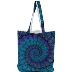 #Blue #Fractal #Spiral #Tote #Bag from #PrintAllOverMe #hippie #fashion #shop