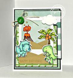 Card by Brianna Loeffelbein for SugarPea Designs.  Stamps: Prehistoric Pals.  SugarCut Dies:  Prehistoric Pals & Polaroid Journal Card.  Birthday Card.