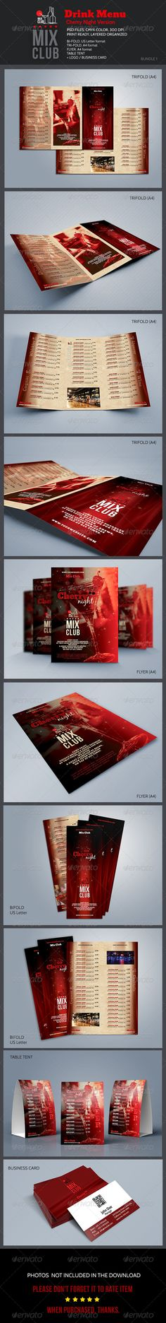Mix Club / Cherry Night - Food Menus Print Templates