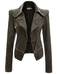 Women's Zipper Point Simple Leather Jacket KHAKI (US-S)