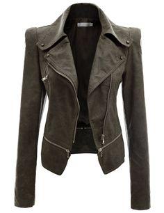 Women's Zipper Point Simple Leather Jacket KHAKI (US-S)