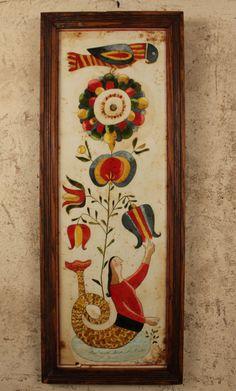 ** Circa Home Living ** Karen Good Original Watercolor - 'Merfolk, Fleurs and Bird'