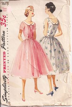 Simplicity 1618; ©1956; Junior Misses' and Misses' One-Piece Dress: Pretty as a cool, summer fashion or as a party dress, both views have a gathered skirt and low rounded neckline outlined with a collar. Dainty pin tucks detail bodice front, each side of the buttoned front band. Dress may short sleeves or be sleeveless.