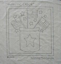 This is a pattern for a hooked rug, designed and hand drawn by Jacquelyn Fox of Waxing Moon Designs. The size stated is the actual size of the Flag Quilt, Patriotic Quilts, Punch Needle Patterns, Craft Patterns, Vintage Embroidery, Embroidery Patterns, Primitive Embroidery, Stitching Patterns, Hand Embroidery