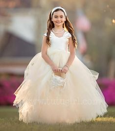 Ivory Champagne Tulle Dress - Tutu Style with Capped Sleeves