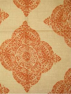 "Mani Terracotta - John Robshaw Designer Fabric - Blockprint Textiles. Perfect drapery fabric or light use upholstery fabric. 95% cotton, 5% linen. Repeat: V: 13.5 H: 18.0, Duraguard finish. Made in U.S.A. 21038-107. 54"" wide"