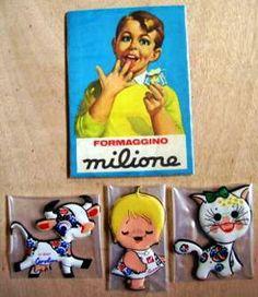 Adesivi da attacare sulla porta del frigorifero Formaggino Milione Invernizzi