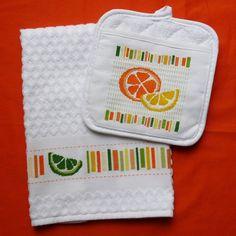 Sunny Citrus Kitchen Towel And Potholder Pattern By Stitchnotions 3 50