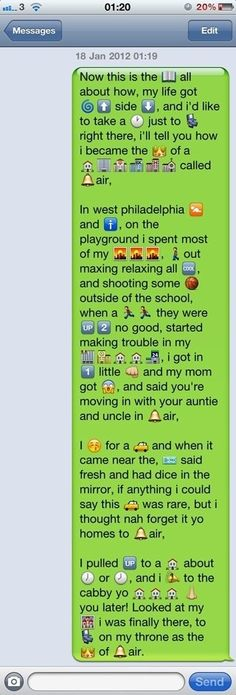 The Fresh Prince of Bell Air Song in Whatsapp text & symbols Just In Case, Just For You, Told You So, Geeks, Whatsapp Text, Prince Of Bel Air, Lol, Funny Text Messages, Best Friend Text Messages