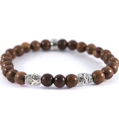 Natural Date and Candy Skull Men's Stretch Bead Bracelet - 8mm