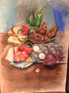 Fruit and vegetable still-life Pastel on high rag paper