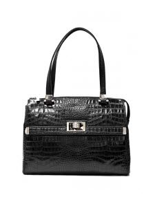 Fratina by Ripani  Ladylike double-handle tote with silver hardware in rich Italian croc-embossed #leather.