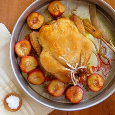 Roast Chicken With Rosemary Honey Roasted Plums