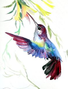 "ORIGINAL Hummingbird watercolor painting 9""x12"" by Suren Nersisyan, on ETSY $28.00 . Artist never sells prints or copies of his work. The artwork is truly OOAK!:"