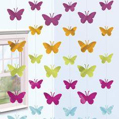 Tiras de siluetas brillantes para decorar tu fiesta mariposa, de www.fiestafacil.com - $4.45 / Strings of shiny butterfly silhouettes to decorate your butterfly party - from www.fiestafacil.com