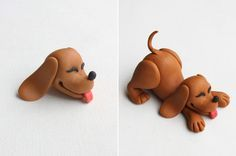 Dog Step-by-Step Tutorial for Polymer Clay, Fondant or Gumpaste - cute playful puppy by Maria Lunarillos