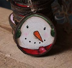 Items similar to Primitive Snowman Ornament, Painted Wood Slice Art, Personalized Christmas Ornament, Christmas Folk Art on Etsy Snowman Christmas Ornaments, Wood Ornaments, Christmas Wood, Christmas Projects, Holiday Crafts, Christmas Decor, Wooden Slices, Primitive Snowmen, Personalized Christmas Ornaments