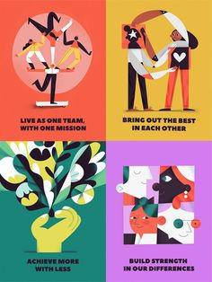 Each poster tells about one of the major company values regarding teamwork and client service. Posters are meant to be used separately as well as matching together as one bigger poster.The values are:Bring out the best in e… Illustration Vector, People Illustration, Business Illustration, Graphic Design Illustration, Web Design, You Draw, Grafik Design, Illustrations And Posters, Poster On