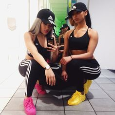 Fitness outfits with bff Adidas Hoodie, Adidas Hat, Adidas Tracksuit, Adidas Shoes, Go Best Friend, Best Friend Outfits, Best Friend Goals, Matching Outfits Best Friend, Polyvore Outfits