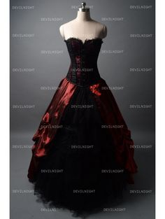 Black and Wine Red Gothic Corset Burlesque Prom Party Dress - Devilnight.co.uk