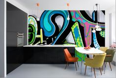 '2 Graffiti Street Art' Removable Wallpaper