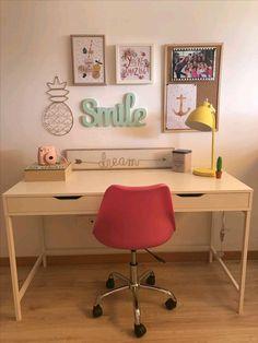 Escritorio juvenil, escritorio ikea - Vids Tutorial and Ideas Home Office Design, Home Office Decor, Home Decor, Office Ideas, Small Room Bedroom, Room Decor Bedroom, Ikea Bedroom, Youth Desk, Study Room Decor