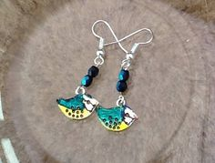 Birdie earrings, Peter and Paul earrings, Springtime statement,  danglers, yellow and blue birds, glass beads, blue tit birds, Easter gifts by LiloLilsEmporium on Etsy