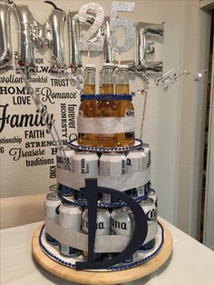 Birthday party ideas for men #husband #cake #boy #birthdayparty #birthdaydecoration #hubby #beercake #beertower #beer #cakeformen #boyfriend #teenager