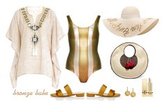 """""""Bronze Babe"""" by musicfriend1 ❤ liked on Polyvore featuring Sophie Anderson, Cynthia Rowley, Gooshwa, Eugenia Kim, Barneys New York, Plukka and Yves Saint Laurent"""