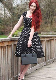 50s style pin up audrey hepburn rockabilly housewife swing polka dot dress
