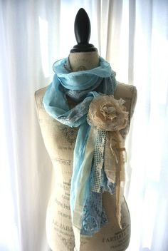Shabby lace scarf cottage rose wrap country by TrueRebelClothing.