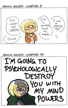 WHAT HAPPENED TO MY LITTLE ARMIN. This is so true tho. Attack on Titan- Armin