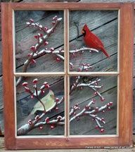 TONS of ideas................painted old windows as art | Hand Painted Window Pane Art, Window Art, Decorative Window Panes, Old ...