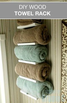 Free Furniture Plans to Build a Wood Towel Rack When storage space is at a minimum and you don't have a linen closet, where do you store clean towels? These free furniture plans to build a Wo… Bathroom Towel Storage, Towel Shelf, Bathroom Towels, Small Bathroom, Bathroom Shelves, Bathroom Ideas, Bath Towels, Downstairs Bathroom, Modern Bathroom