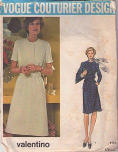 MOMSPatterns Vintage Sewing Patterns - Vogue 1119 Vintage 70's Sewing Pattern FAB Couturier Designer Valentino A-Line Shirtwaist Mod Day Dress with Pockets Size 12