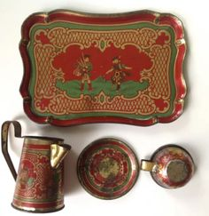 Scottish Soldiers.... vintage child's tin tray coffee pot and cup & saucer