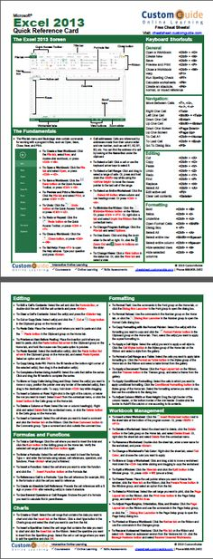 Free Excel 2013 Quick Reference Card. http://www.customguide.com/cheat_sheets/excel-2013-cheat-sheet.pdf