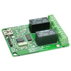 Numato Lab 2 Channel USB Powered Relay Module. USB Interface to Host PC. Wide operating System Support. Easy installation and operation. This product is RoHS Compliant. http://numato.com/2-channel-usb-powered-relay-module/.