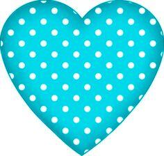 ♥teal & white polkadot heart♥