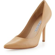 Charles David Sway II Leather Pointed-Toe Pump ($160) ❤ liked on Polyvore featuring shoes, pumps, camel, pointy toe high heel pumps, charles david pumps, pointed-toe pumps, slip on shoes and leather pointed toe pumps