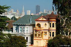 Victorian Row Photo, Stock Photo of San Francisco, California Alamo Square, San Francisco Houses, California Living, San Fransisco, Victorian Homes, Bay Area, Victorian Fashion, Places Ive Been, The Row