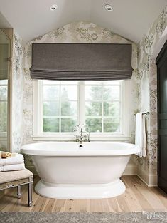 Pretty Painted Ceilings White ceilings may be too bright and jarring for rooms meant for relaxing. Bathroom Window Treatments, Bathroom Blinds, Yellow Ceiling, Colored Ceiling, Glamorous Bathroom, Beautiful Bathrooms, Blue Framed Mirrors, Ceiling Paint Colors, Bathroom Tile Designs