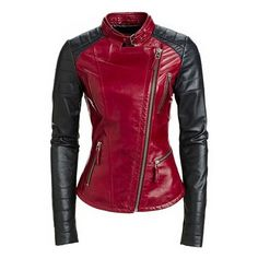 Danier Leather Quinn Jacket Style Inspiration ❤ liked on Polyvore featuring outerwear, jackets, red, black, jackets cardigans & coats, 100 leather jacket, danier, red jacket, leather jackets and red leather jackets