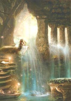 44 Super ideas for fantasy landscape magic fairy tales Fantasy Places, Fantasy World, Fantasy Kunst, Fantasy Art, Dark Fantasy, Fairy Land, Fairy Tales, Fantasy Unicorn, Elfen Fantasy
