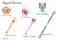 Lolirock props: magical amulets and scepters
