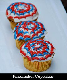 Fourth of July Ideas ~ Firecracker cupcakes, star napkin holders, Rice Krispies treats sparklers, and lots more ideas!