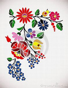 Hungarian Embroidery Patterns A beautiful hungarian Kalocsai floral pattern. Hungarian Embroidery, Learn Embroidery, Crewel Embroidery, Floral Embroidery, Embroidery Designs, Stitch Head, Mexican Flowers, Chain Stitch Embroidery, Motif Floral
