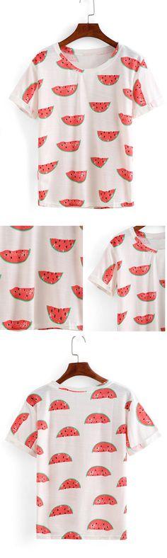 Rolled Sleeve Watermelon Print T-shirt