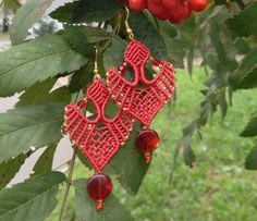 Spectacular red earrings for special events! They look like handmade lace.    This micro macrame earrings is made out of nylon bead cord, Japanese